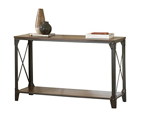 Steve Silver Company Winston Sofa Table - Rustic medium cherry finish with distressing Solid birch hardwoods Industrial Chic Styling - living-room-furniture, living-room, console-tables - 415 hE3U1UL -