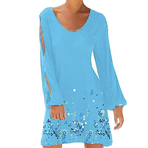 Women Dresses Summer Cold Shoulder Floral V Neck Shift Short Dress Sexy Hollow Out Sleeve Mini Dress Chaofanjiancai Sky Blue