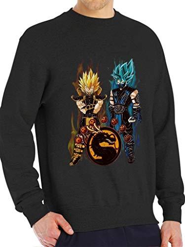 DBZ X Mortal Kombat - Funny Vintage Trending Awesome Unisex Shirt by SMLBOO Sweatshirt (Sweatshirt Black, L) ()