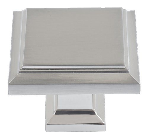 Atlas Homewares 289-BRN 1-1/4-Inch Sutton Square Knob, Brushed Nickel