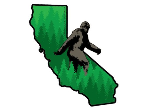 California State Shape with Bigfoot (Bumper Sticker)