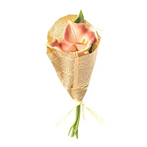 Honey and Me Artificial Coral Calla Lily Flowers in Newspaper Bundle 15 Inch Floral Bouquet Decorative Picks Set of 3 70