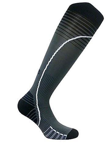 Vitalsox Italian Premium Patented Graduated Compression Silver Drystat Running Socks(1Pair-Compression), Black/Grey, Large