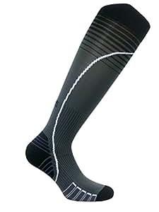 Vitalsox Italian Premium Patented Graduated Compression Silver Drystat Running Socks(1Pair-Compression), Black/Grey, Small