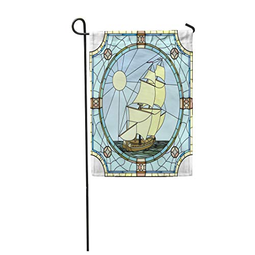 Semtomn Garden Flag 28x40 Inches Print On Two Side Polyester Mosaic with Large Cells of Sailing Ships The 17Th Century in Round Stained Home Yard Farm Fade Resistant Outdoor House Decor Flag -