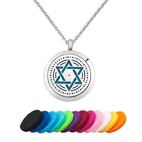 (LoEnMe Jewelry Aromatherapy Essential Oil Diffuser Necklace Star of David Jewish Hebrew Hexagram Locket Pendant Women Girl)