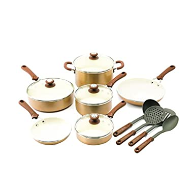 Trisha Yearwood Cottage Precious Metals 14 Piece Non-Stick Ceramic Cookware Set, Copper