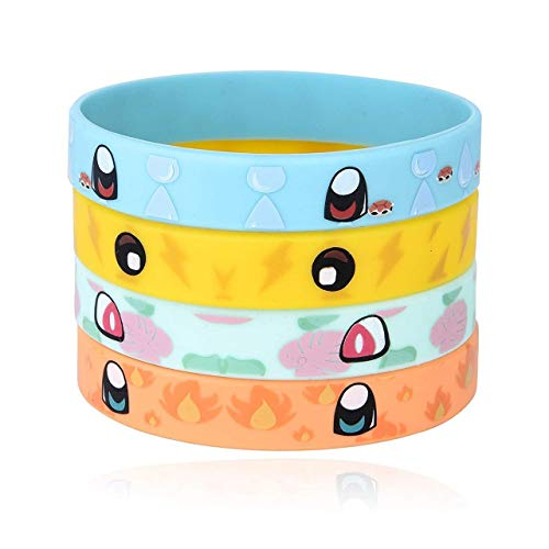 Totem World 24 Rubber Bracelets for Kids Pokemon Theme Birthday Party Favors - Durable Silicone Bracelets Provide Hours of Fun - Assorted Inspired Pikachu, Charmander, Squirtle, and Bulbasaur Design -