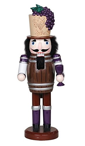 Santa's Workshop Wine Barrel and Grapes with Wine Glass Wooden Christmas Nutcracker 15 Inch