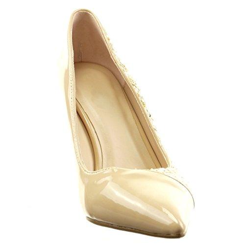 Sopily - damen Mode Schuhe Pumpe Stiletto bi-Material glänzende Patent - Beige