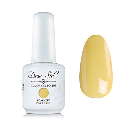 Light Yellow gel nail polish, Beau Gel 15ml UV LED Color Nail organizer for women (198)