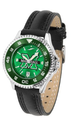(SunTime Marshall Thundering Herd Competitor Ladies AnoChrome Watch with Leather Band and Colored Bezel)