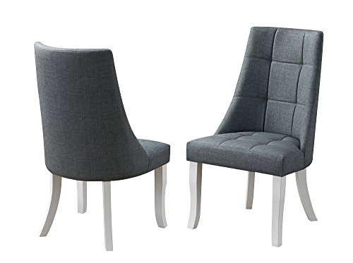 Cheap Kings Brand Milan Gray Vinyl Upholstery Kitchen Dinette Dining Room Side Chairs, Set of 2