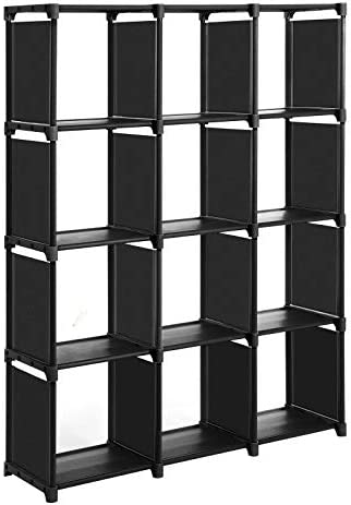 SONGMICS Cubos de Almacenamiento, Librería con 12 Compartimentos, Armario Modular, para Salón, Dormitorio, Baño, 105 x 30 x 140 cm, Martillo de Goma Incluido, Negro LSN12BK: Amazon.es: Hogar