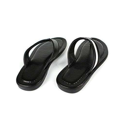 Fulinken Nytt Mode Läder Slip På Komfort Flip Flops Badskor Sandals Mens Skor Glider Svart