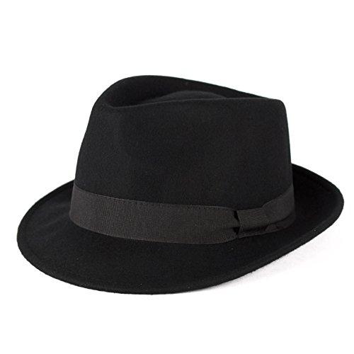 Men's Ladies Trilby Hat Plain Hand Made Fine Felt Grosgrain Bow Style Band - Black (61/XL)