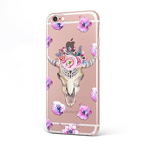 Goat Head with Flowers UV Printed Clear TPU Case for iPhone 7 iPhone 6 Galaxy s7 Phone Model - iPhone 6-6s