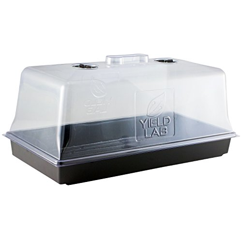 Yield Lab 10 x 20 Inch Black Plastic Propagation Tray - Hydroponic, Aeroponic, Horticulture Growing Equipment (1, Dome and Tray)