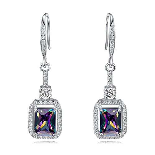 (Merthus Womens 925 Sterling Silver Created Mystic Rainbow Topaz Dangle Earrings)
