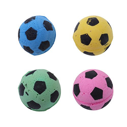 (UEETEK 4 Pcs Sponge Football Soccer Balls Cat Kitty Toys)