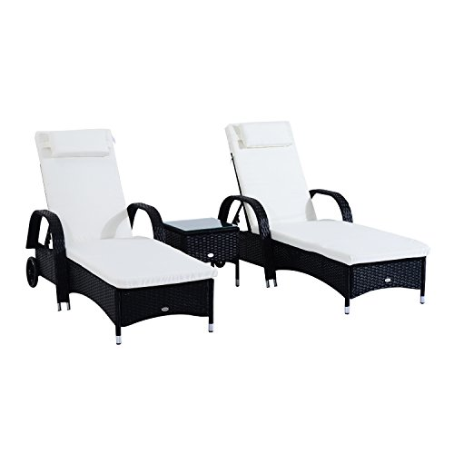 Outsunny 3 Piece Rattan Wicker Adjustable Chaise Lounge Chair with Wheels Set- Black White - Black