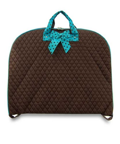 Quilted Solid Color Garment Bag (BROWN / TURQUOISE)