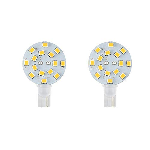 Makergroup T10 921 Wedge Base LED Bulbs for RV Dome Lights in Camper Trailer Marine Boat Replacement LED Bulbs 10-30V Disc 3W Natural White 2-Pack ()