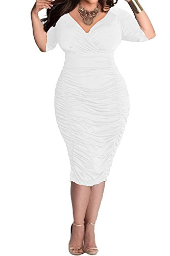 POSESHE Womens Plus Size Deep V Neck Wrap Ruched Waisted Bodycon Dress (XXXL, White)