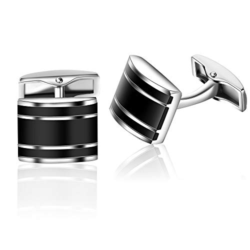 Honey Bear Cufflinks for Mens - Rectangle Stainless Steel Black, for Business Wedding Gift (Style - Buttons French Cuff