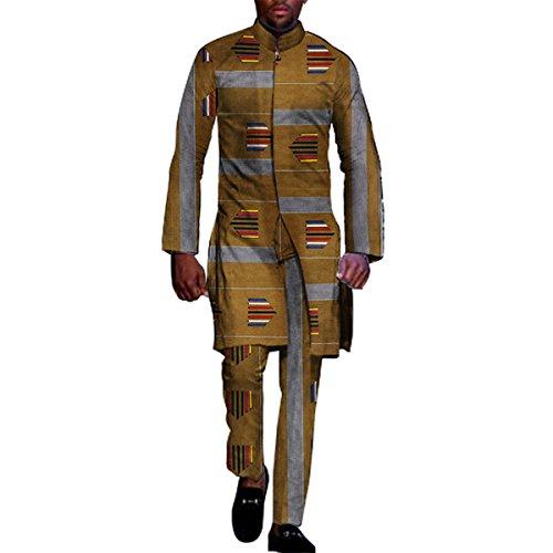 African Clothing for Men 2 Piece top pants Ankara Dashiki Cotton Print Style ()