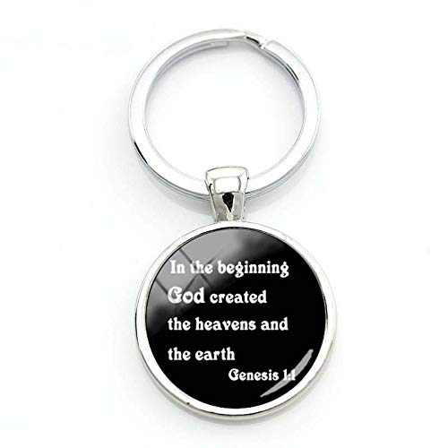 2018 Fashion in The Beginning God Created The Heavens Keychain The Earth Genesis Keyring Silver Glass Dome Key Chains