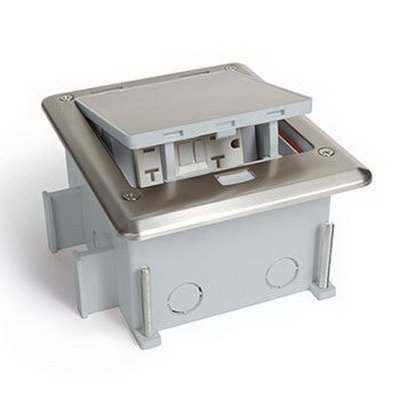 Lew OB-1-SP Push Button Open Outdoor Floor Box With Cover - Stainless Steel