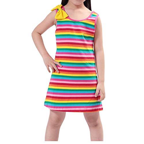 (Niyage Girls Sleeveless Summer Dress Casual Tank Rainbow Striped Dress 7)