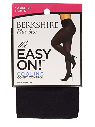 Berkshire Women's Easy On 40 Denier Plus Size Tights, Black, Queen ()