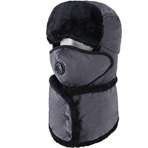 Sombrero De Bombardero Caliente De Invierno Para Hombre Sombrero De Piloto De Sombrero De Caza Orejera De Estilo Ruso Unisex Máscara A Prueba De Viento Sombrero De Esquí De Invierno Clásico Gray