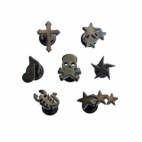 (Sanlyton 7PCS Skull Windmill Cross Stars Scorpion 14G Surgical Steel Earrings Piercing Black Anodized)