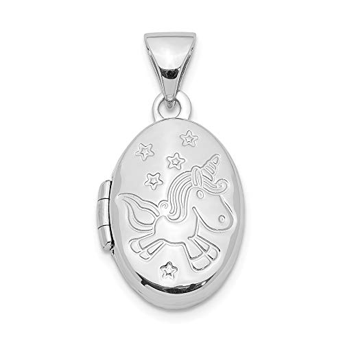 (Jewelryweb 925 Sterling Silver Girls Small Unicorn Flower Locket Necklace)