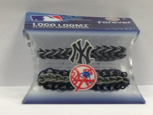 MLB New York Yankees Logo Loomz Premade Wristband (2-Pack), Blue (New York Yankees Wristbands)