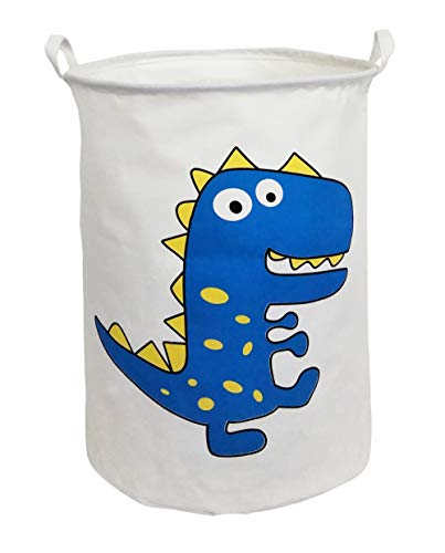 CLOCOR Large Storage Bin-Cotton Storage Basket-Round Gift Basket with Handles for Toys,Laundry,Baby Nursery (Blue Dinosaur)
