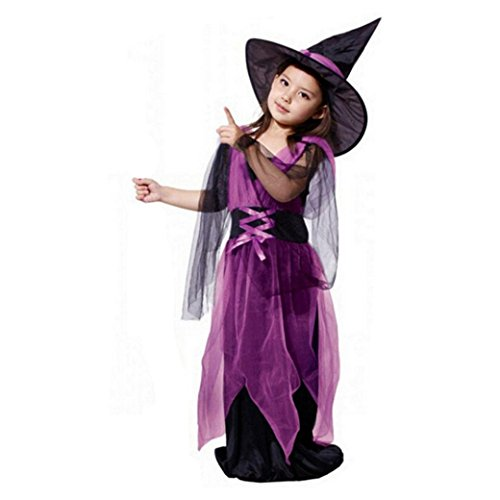 Clearance Han Shi Toddler Kids Baby Girls Halloween Costume Party Dresses Hat Outfit (Purple, 6-7T)