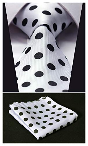 Enmain Mens Tie Dot Necktie and Pocket Square Set for Wedding Party White / Black]()