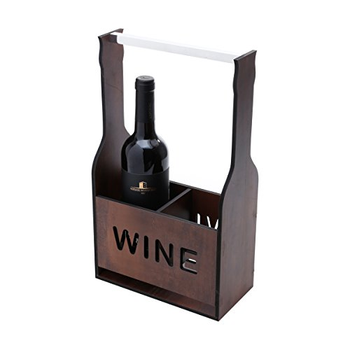 Wooden Wine or Beer Caddy / Holder / Tote / Basket / Carrier / Crate (2 compartments, Wine- Dark Wood) (Holder Wood Wine)