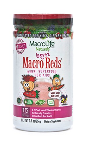MacroLife Naturals Macro Berri Reds Multivitamin Drink Mix for Kids – All Natural with 1 Billion Probiotics & Enzymes to Aid Digestion & Support Immune system - Gluten Free & (Macrolife Naturals Macro Greens)