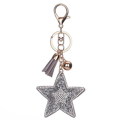 Glitter Ball Pendant - DJHbuy Glitter Crystal Rhinestone Star Tassel Ball Pendant Keychain Car Handbag Keyring