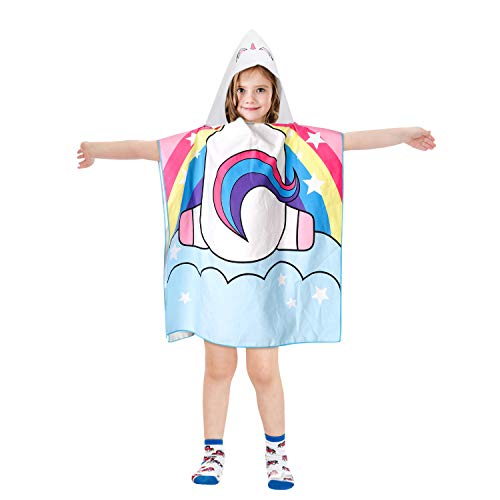 Akamino Kids Hooded Bath Towel, Ultra Soft Beach Towel Premium Quality Material Poncho Cape for Children, Ideal for Pool, Beach, Bath Time, 1-7 Years Old Kids Bath Robe]()