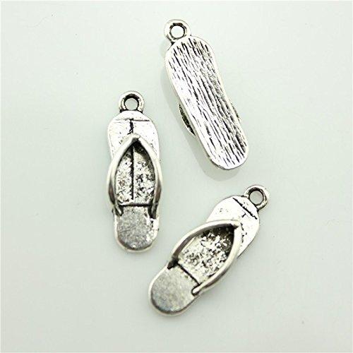 Flip Flop Slipper Pendant (50pcs 21×7mm Antique Silver Slippers Charms Flip Flop Charm Antique Silver Tone Antique Silver Slippers Pendant B11286)