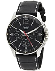 Casio Men's Black Dial Leather Band Watch - MTP-1374L-1