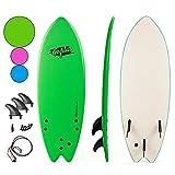 Goplus 5'5' Surfboard, Soft Top Surf Board, Lightweight Bodyboard Surfing Foamie Board with 3 Removable Fins, Adjustable Wrist Rope, Great Beginner Board for Kids and Adults (Green)