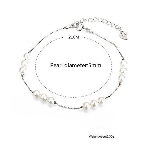 B.Z La Vie Bracelet Femme/Enfant 21CM Argent Fin et Perle Petite 5mm Charme