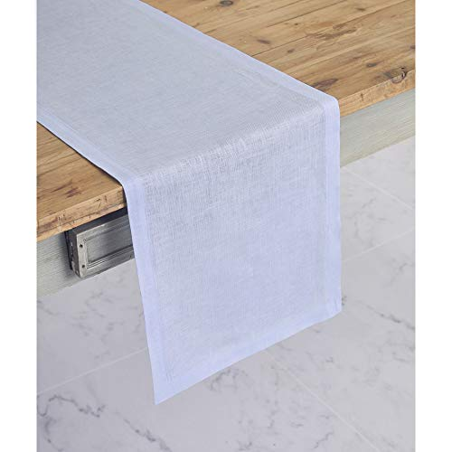 Solino Home 100% Pure Linen Table Runner - 14 x 48 Inch Athena, Handcrafted from European Flax, Natural Fabric Runner - Light ()